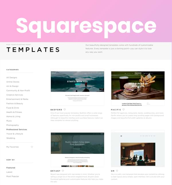 Squarespace themes and templates